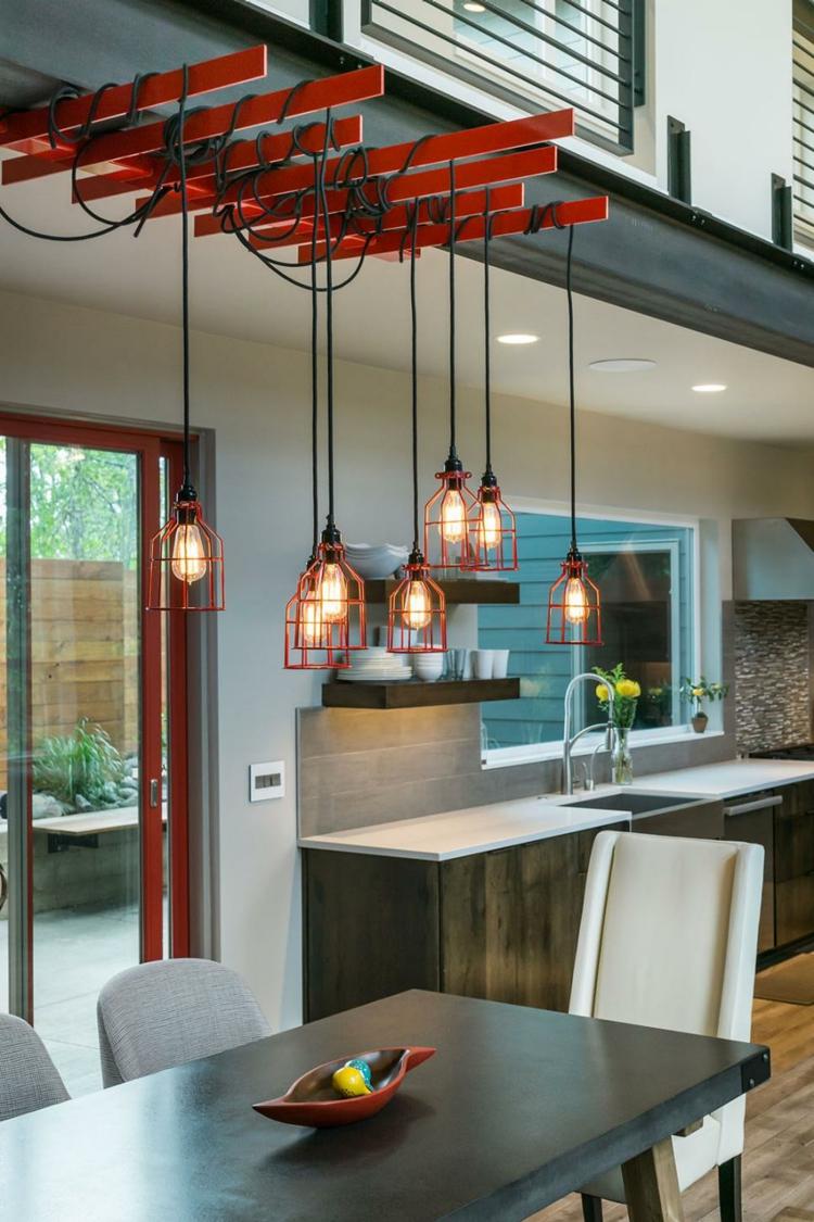 decoración de cocinas modernas luminarias cables