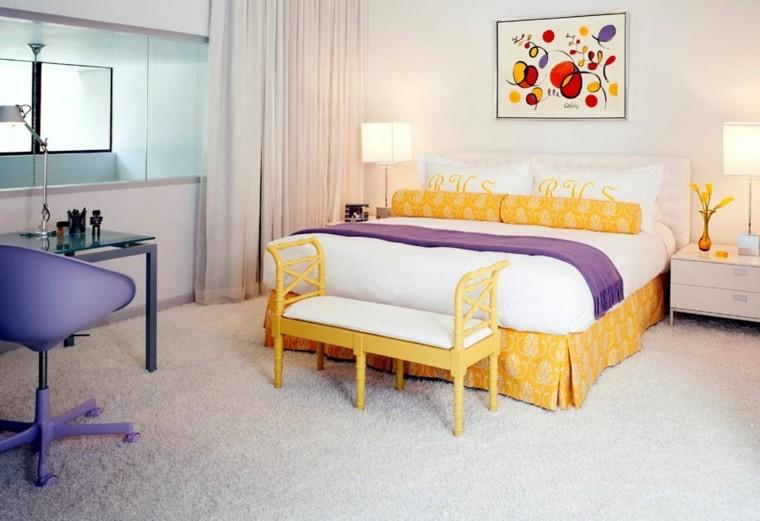 decoración dormitorio colores complementarios vivos