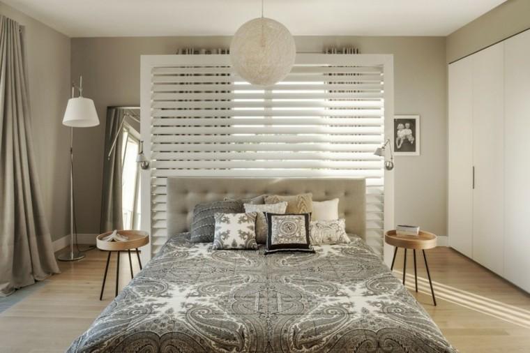 decoracion ambiente dormitorio mesitas redondas madera ideas