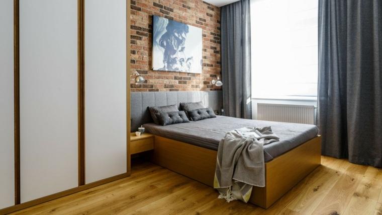 decoracion ambiente dormitorio pared ladrillo cortinas grices ideas