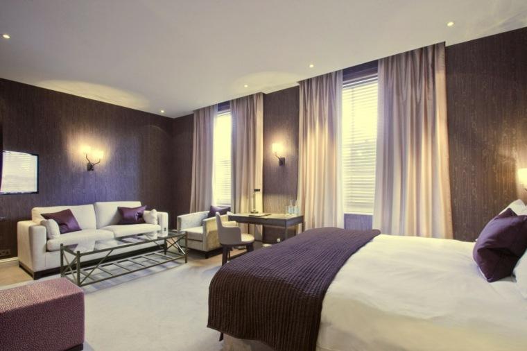 decoracion ambiente dormitorio toques color purpura ideas