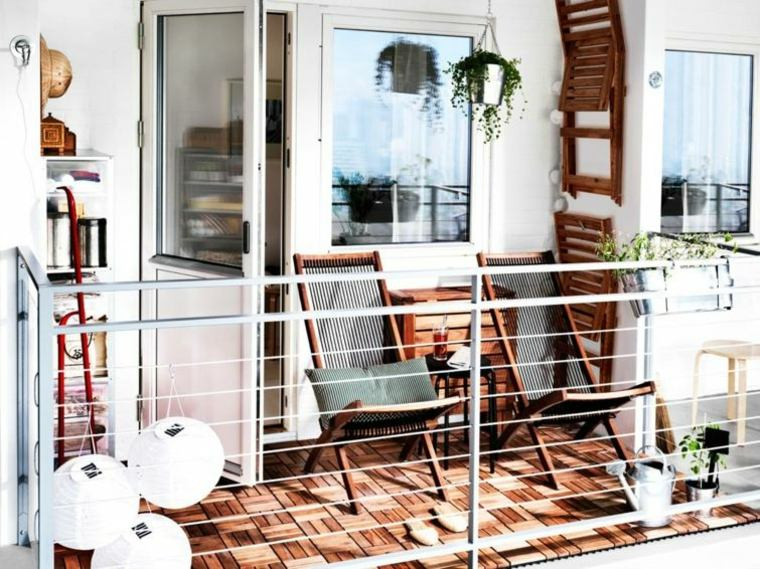 decoracion balcon originales losas madera ideas