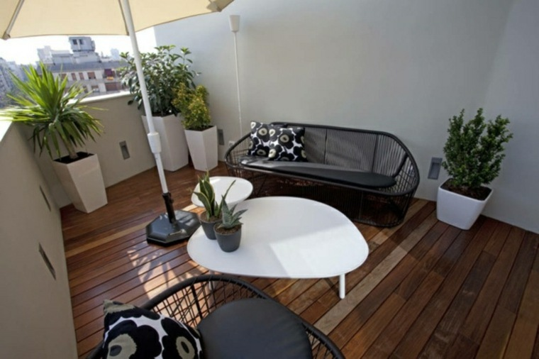 decoracion balcon originales sofa negra ideas