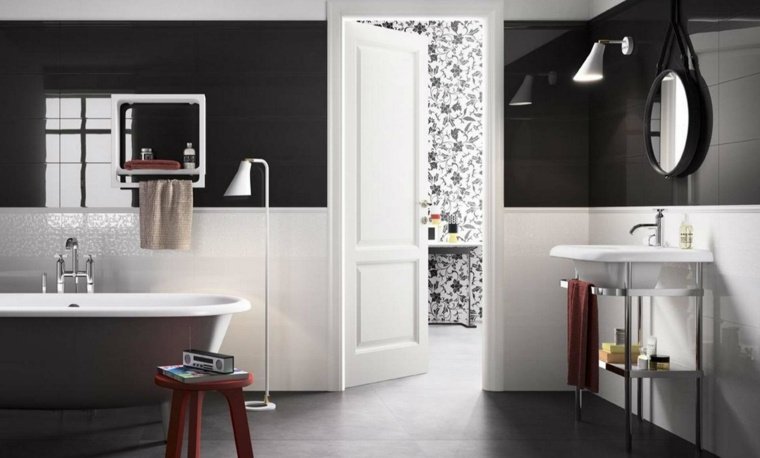 decoracion baños modernos blanco negro ideas