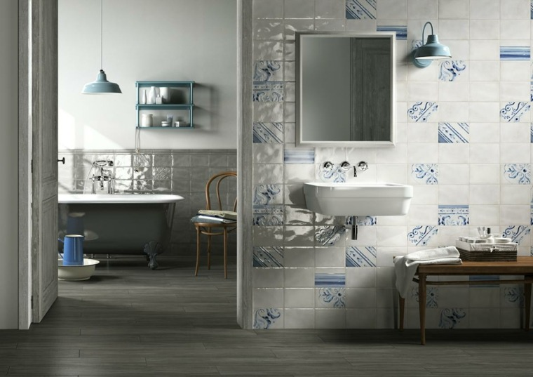 decoracion baños modernos dividido dos espacios ideas