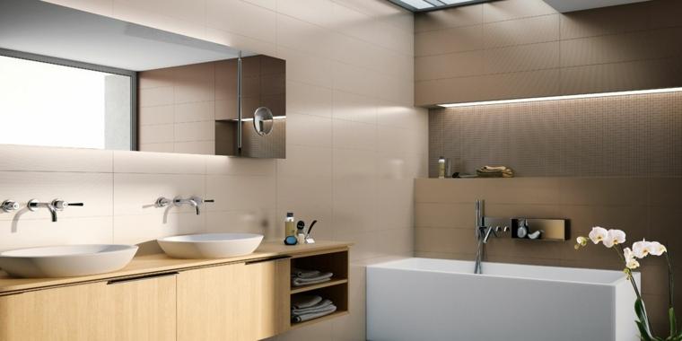 decoracion baños modernos dos lavabos banera ideas