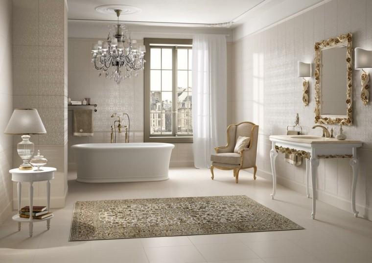 decoracion baños modernos espejo mesita ideas