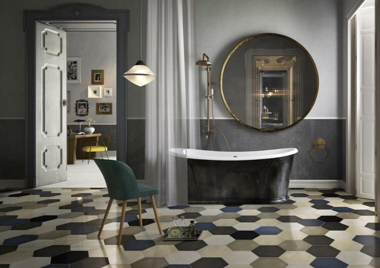 decoracion banos modernos espejo redondo grande ideas