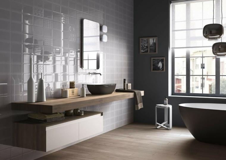 decoracion banos modernos lavabo madera ideas