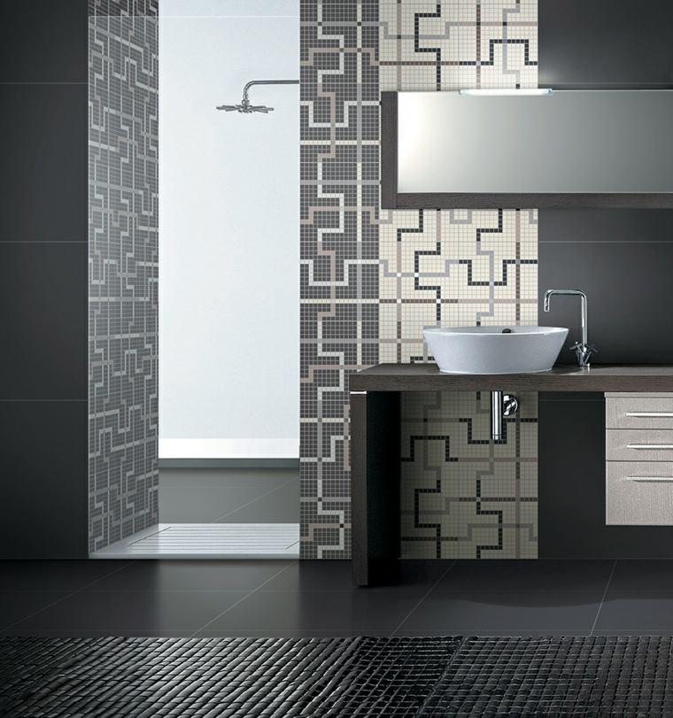 decoracion banos modernos mosaico precioso ideas