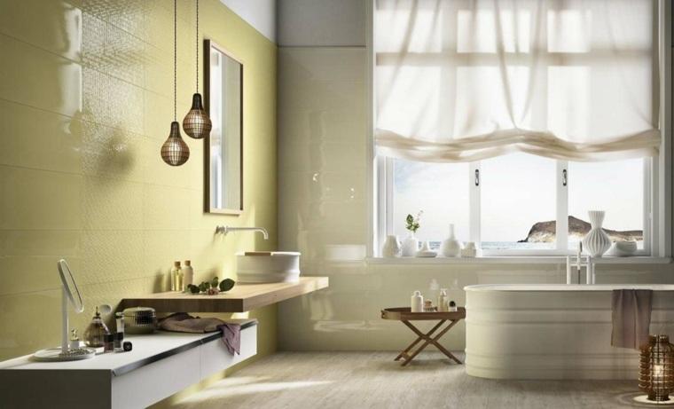 decoracion baños modernos pared color amarillo ideas