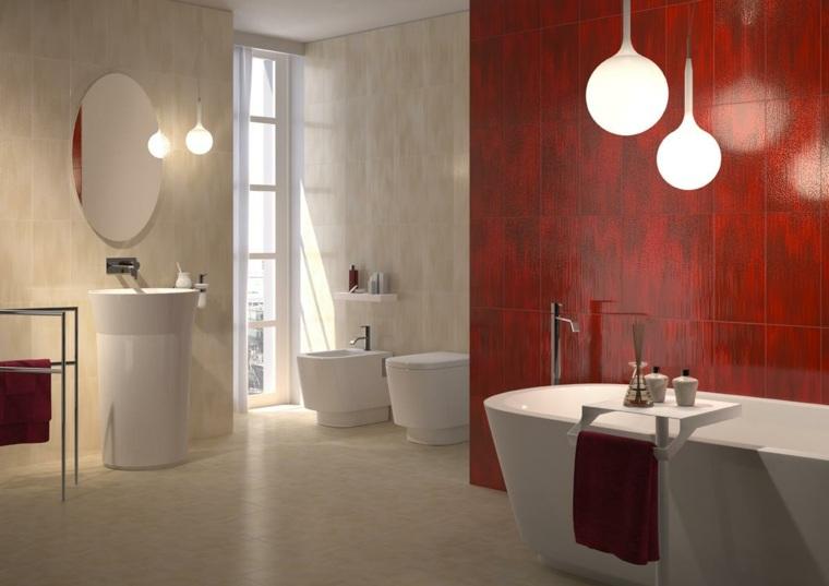 decoracion banos modernos pared color rojo ideas