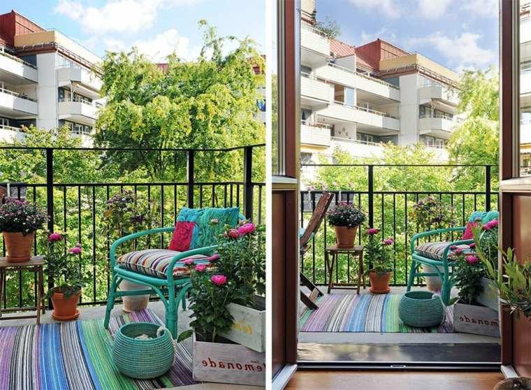 decoracion terraza barata silla turquesa