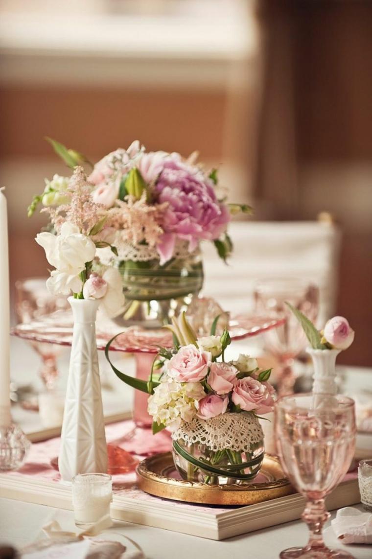 decoracion boda vintage flores jarrones cristal ideas