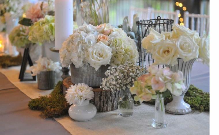 decoracion boda vintage flores madera centro ideas