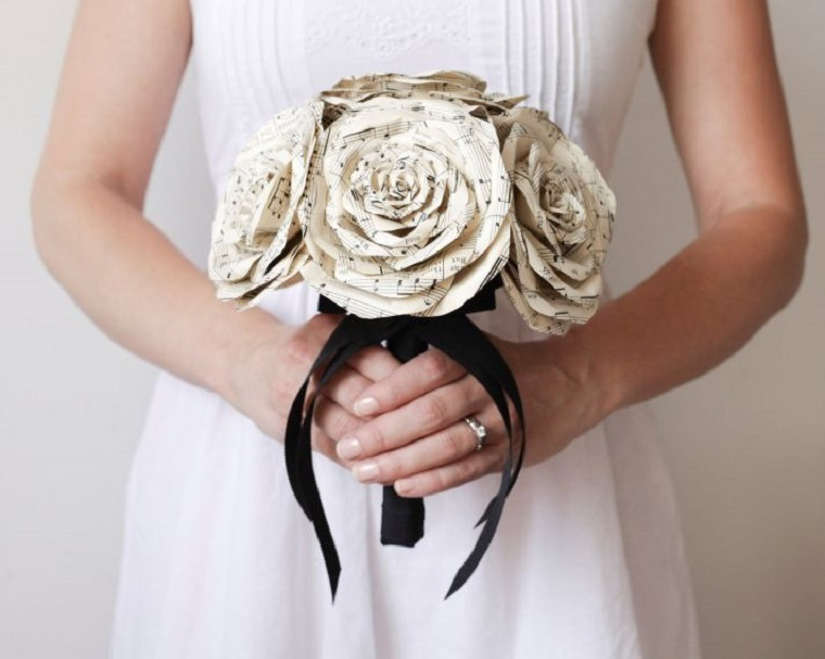 decoracion boda vintage ramo flores papel ideas