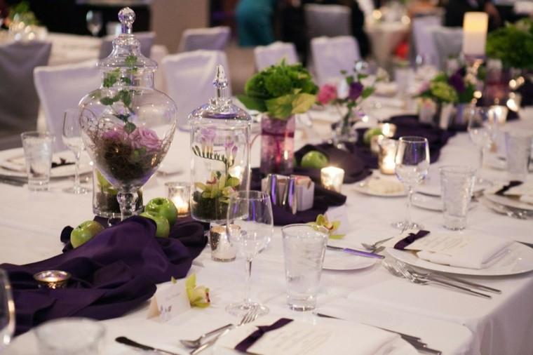 decoracion boda vintage tarros cristal camino purpura ideas