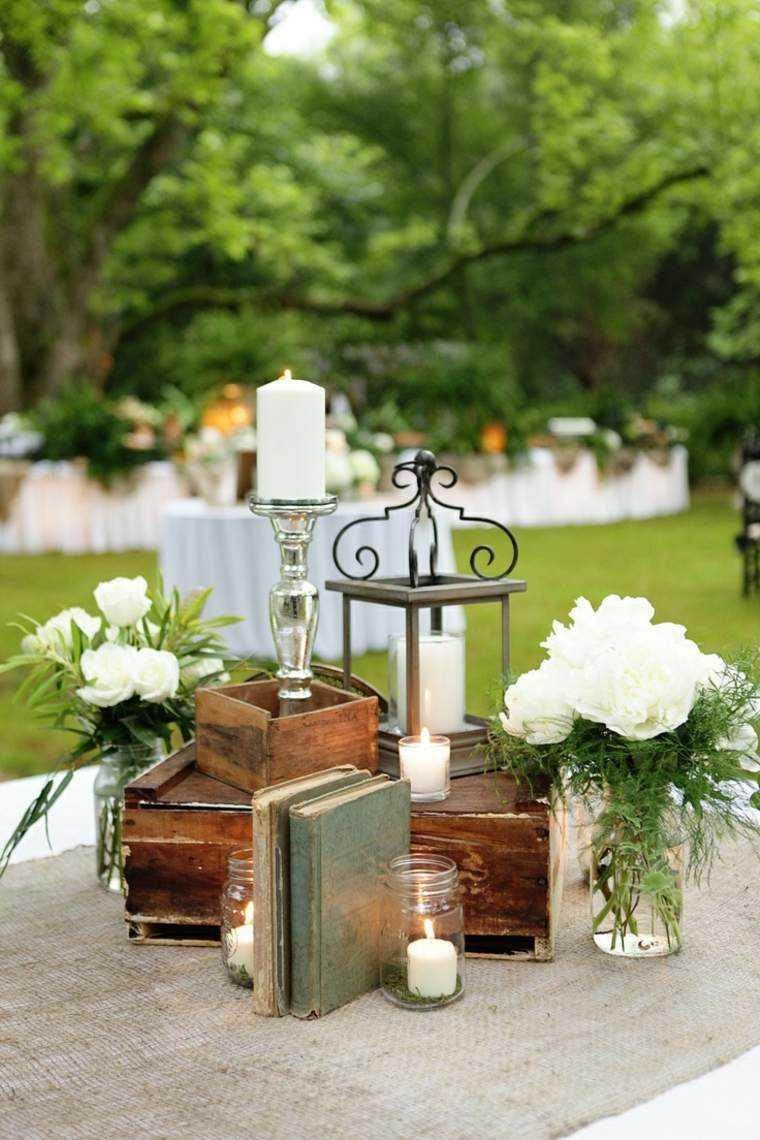 decoracion boda vintage cajas madera ramos blancos ideas