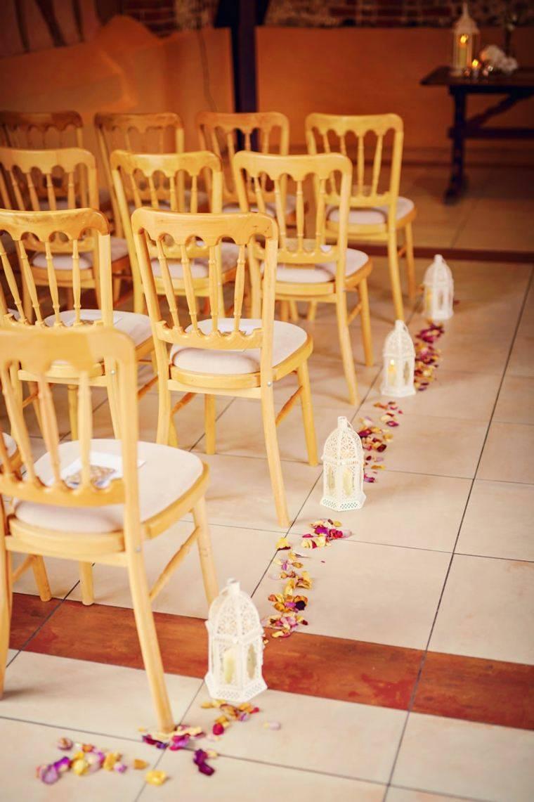 decoracion boda vintage camino farolas petalos ideas