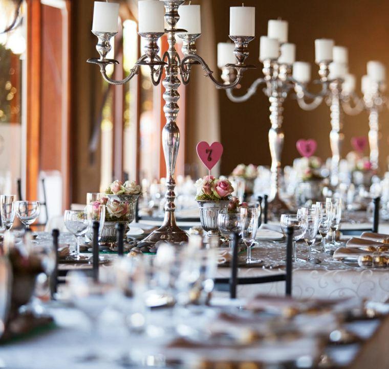 decoracion boda vintage candelabros acero ideas
