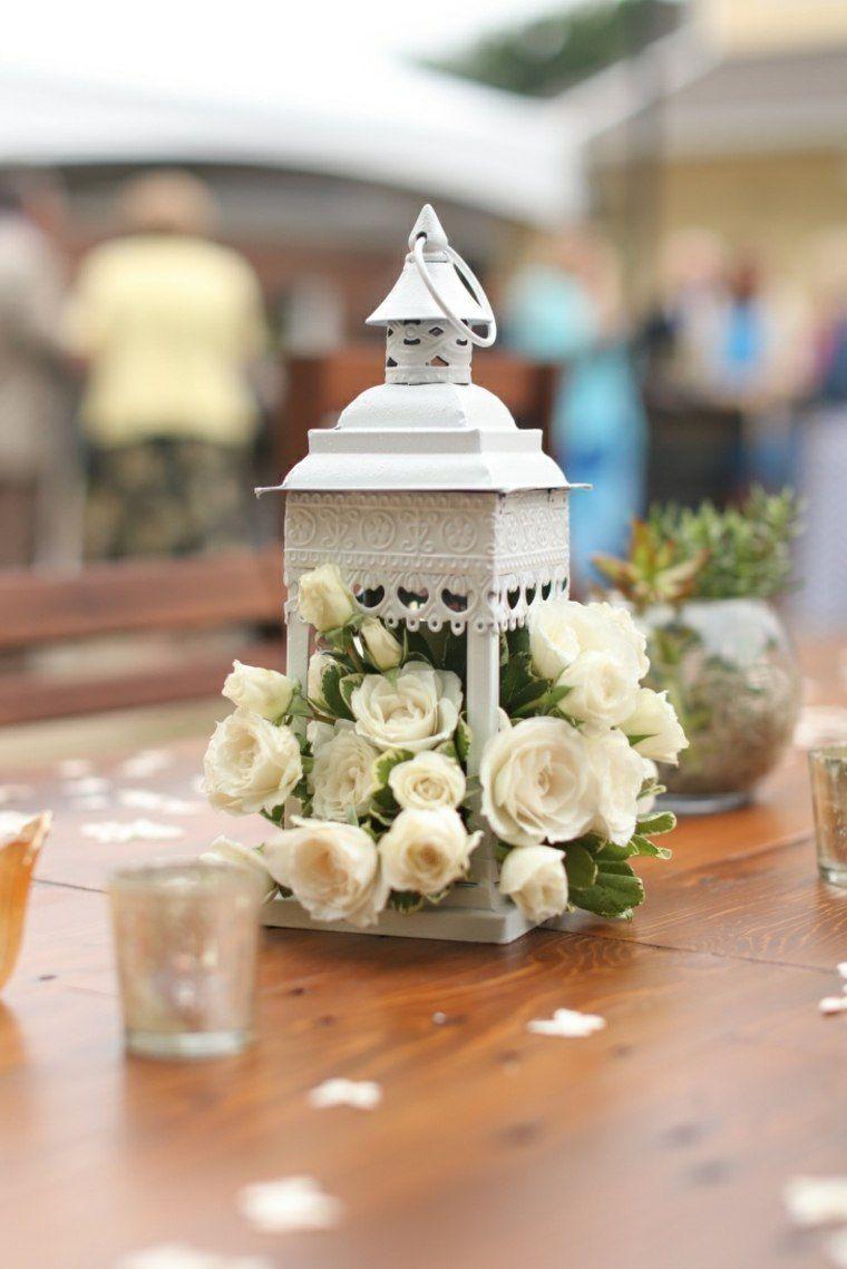 decoracion boda vintage farola acero flores ideas