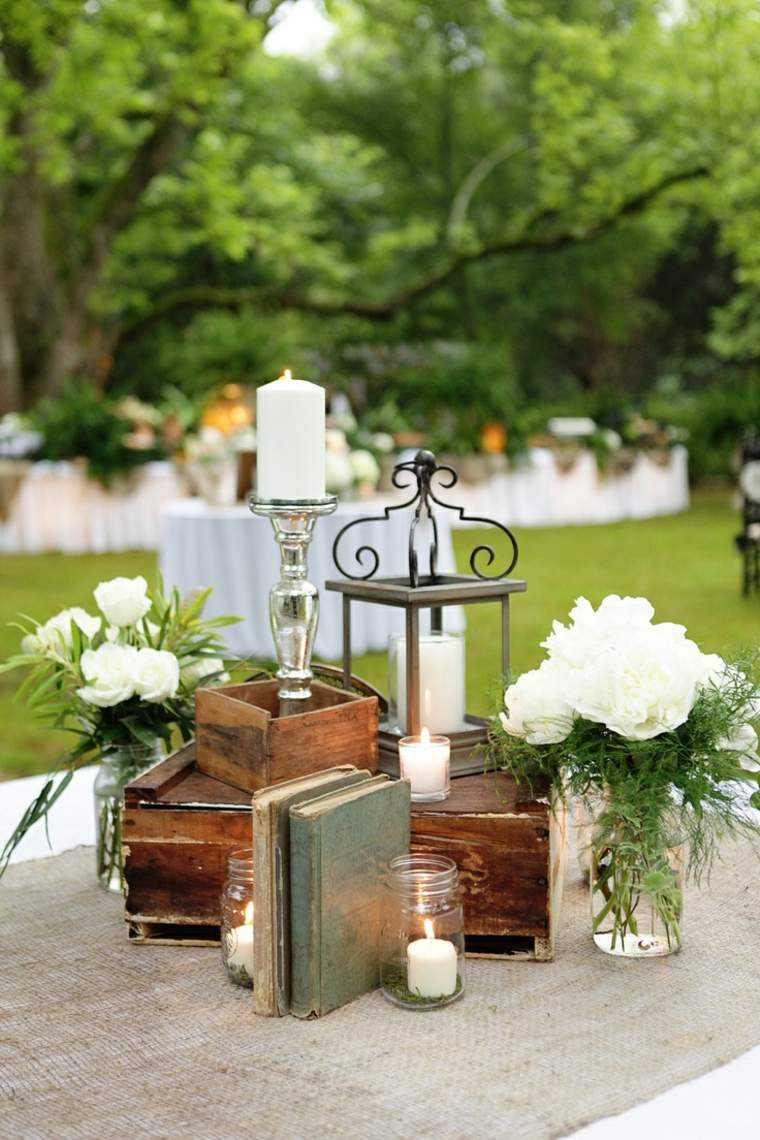 decoracion boda vintage flores cajas madera ideas
