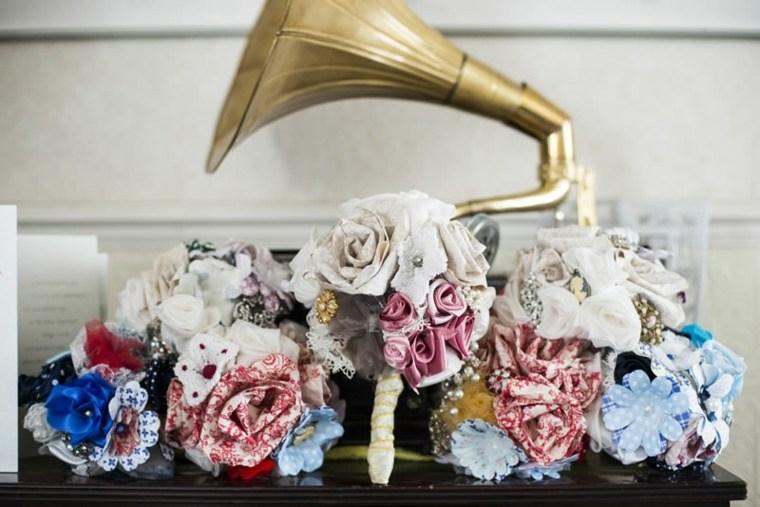 decoracion boda vintage flores hechos telas ideas
