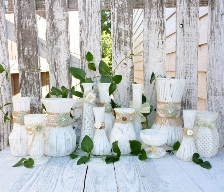 decoracion boda vintage jarrones blancos ideas
