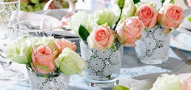 decoracion bodas vintage jarrones pequenos rosas ideas