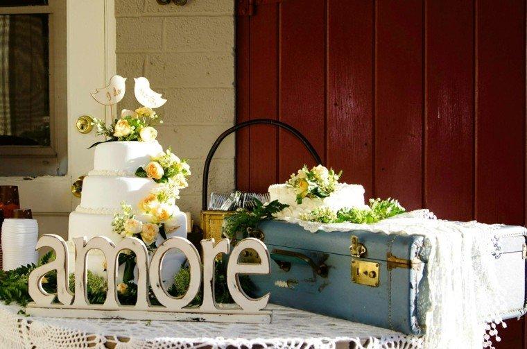 decoracion boda vintage maleta azul ideas