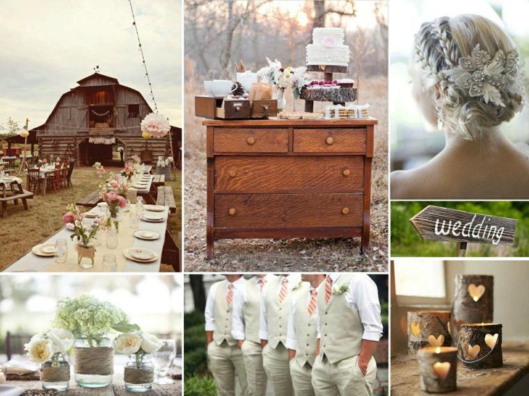 decoracion boda vintage mesas madera muebles ideas