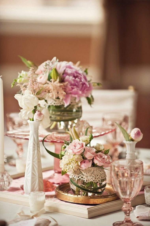 decoracion boda vintage rosa flores precioso ideas
