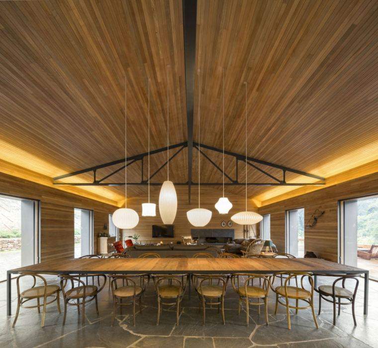 decoracion comedor moderno diseno amplio lamparas ideas
