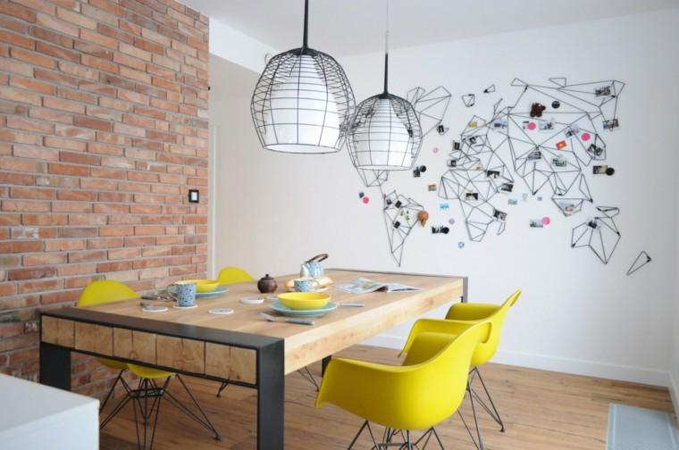 decoracion comedores moderno diseno sillas amarillas ideas