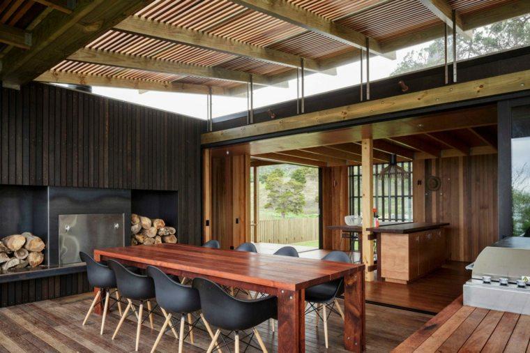 decoracion comedores moderno diseno sillas negras mesa madera ideas