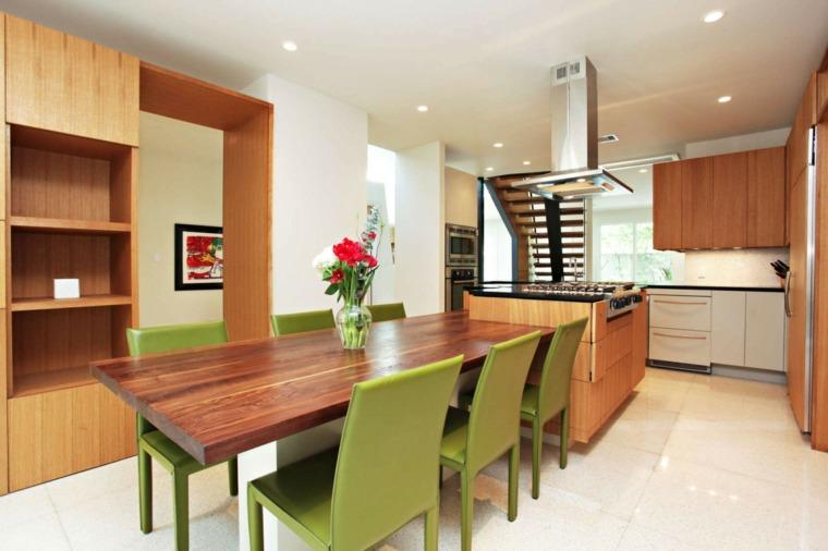 decoracion comedores moderno diseno sillas verdes ideas