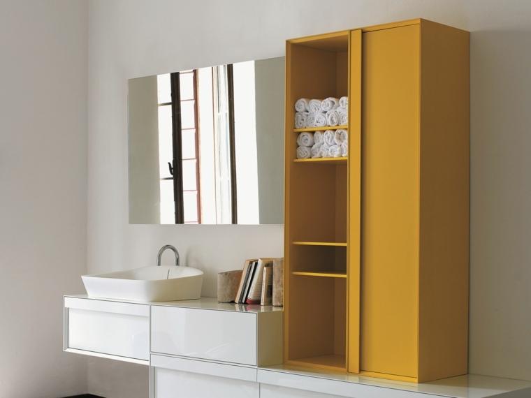 decoracion de baños armario amarillo precioso ideas