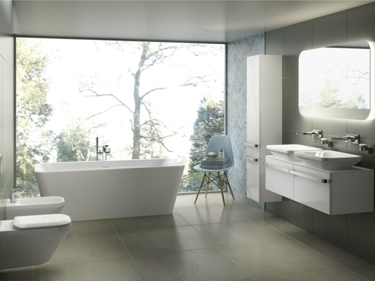 decoracion de baños banera muebles blancos ideas