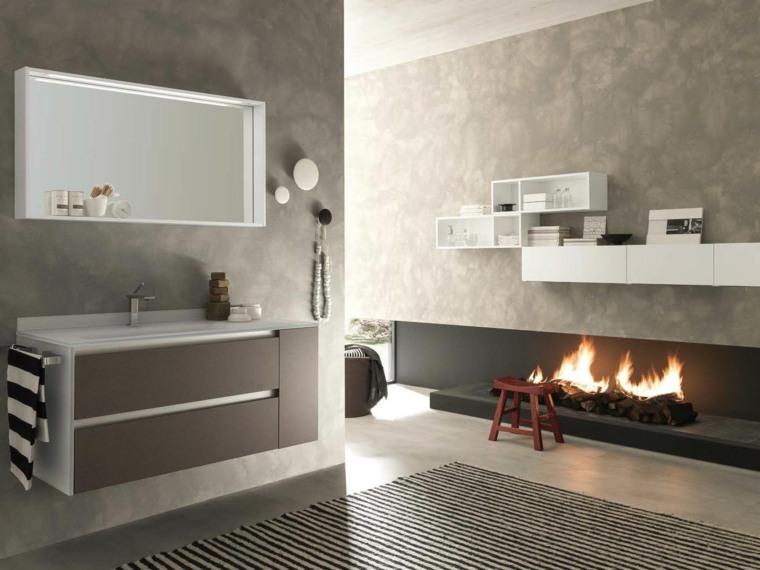 decoracion de baños chimenea estantes blancos ideas