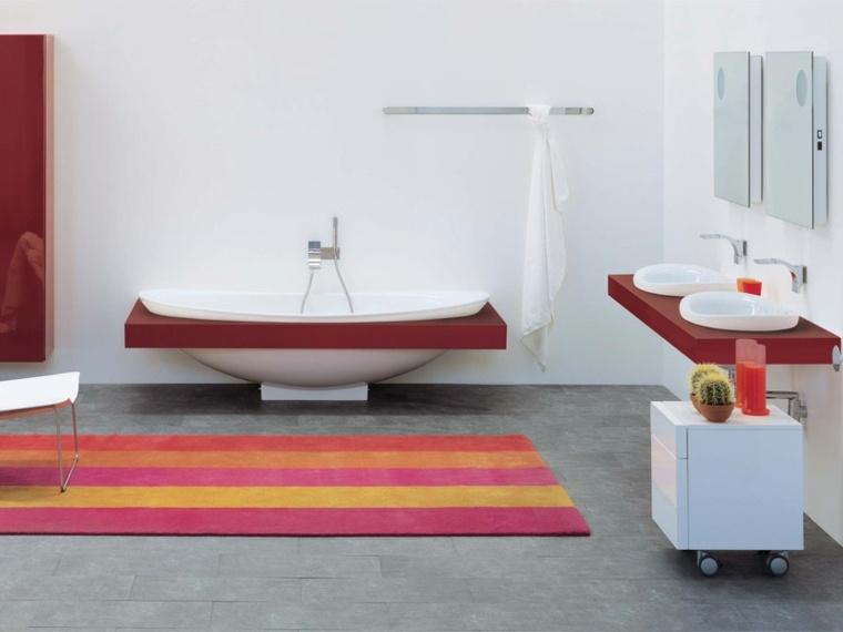 decoracion baños lavabo banera rojo ideas