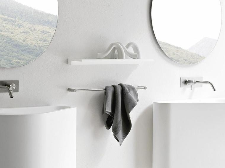 decoracion banos lavabos blancos espejos redondos ideas
