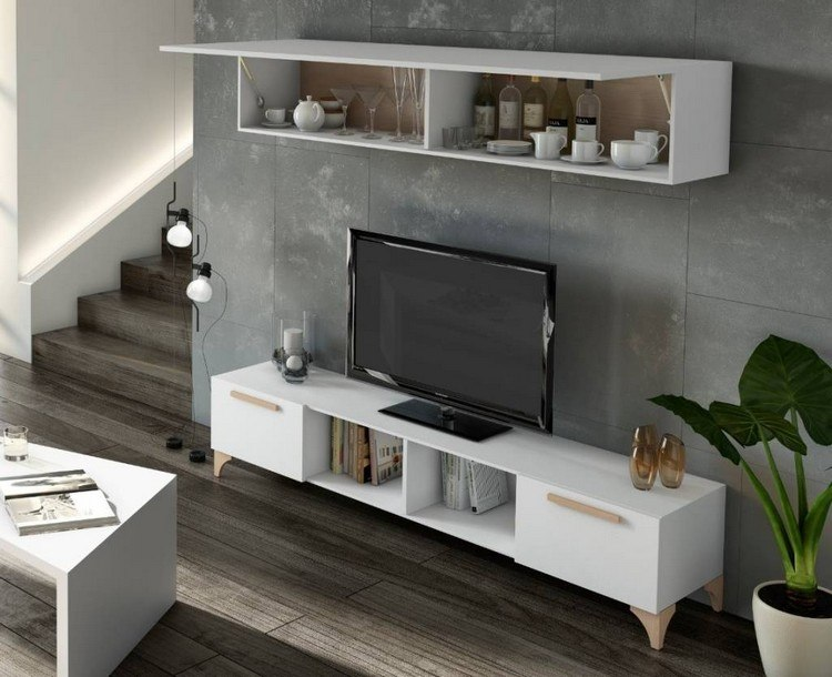 decoración de paredes muebles blancos televisor ideas