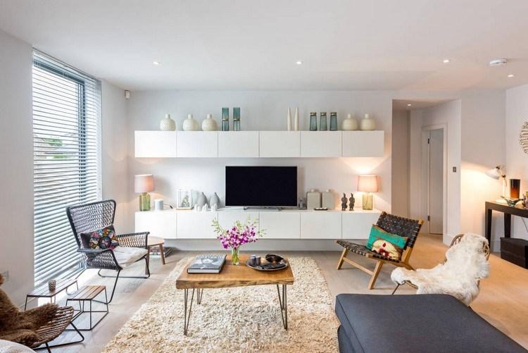 decoración de paredes muebles blancos ideas