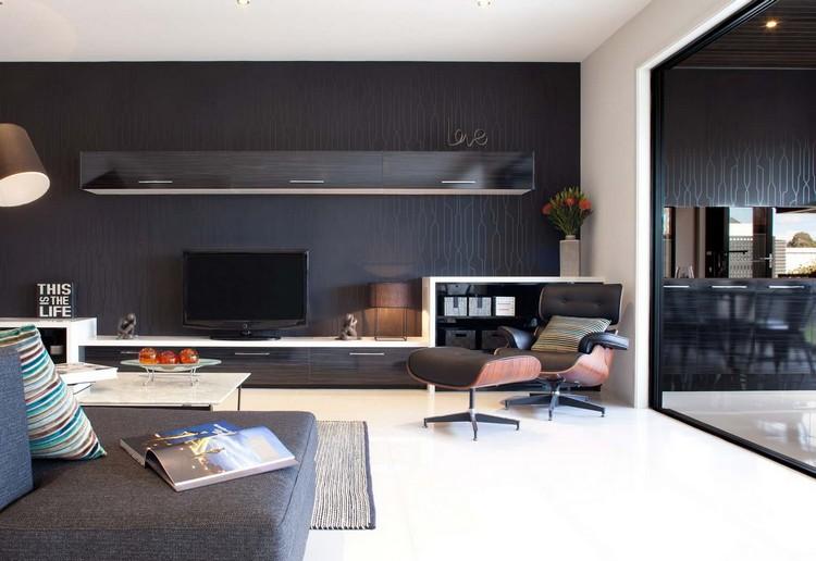 decoracion de paredes muebles papel pared negro ideas