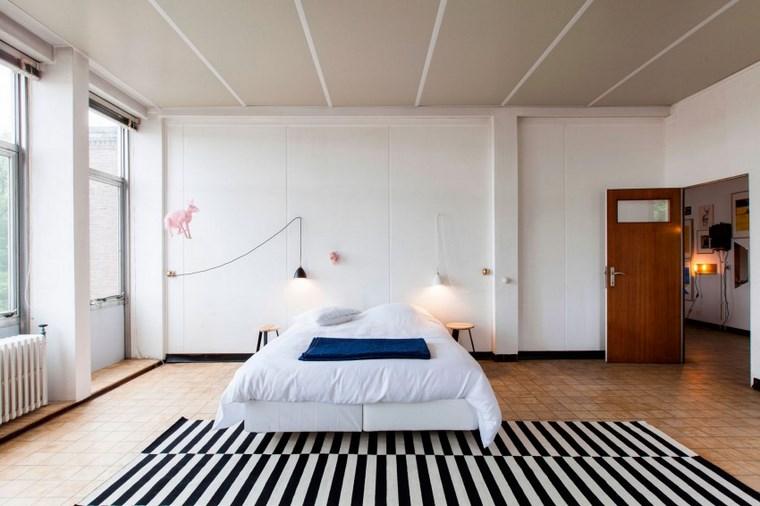decoracion dormitorios moderno alfombra blanco negro ideas