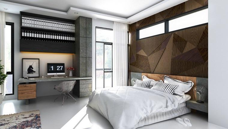 decoracion dormitorios moderno amplio escritorio cama grande ideas