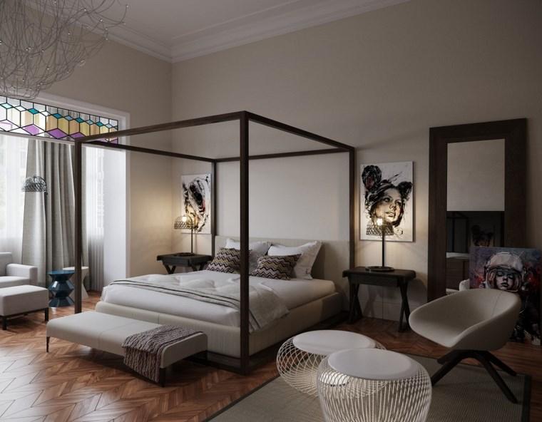 decoracion dormitorios moderno amplios cama dosel ideas