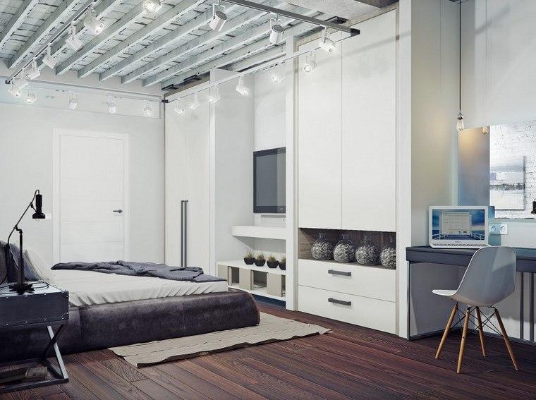 decoracion dormitorios moderno armarios contraste negro ideas