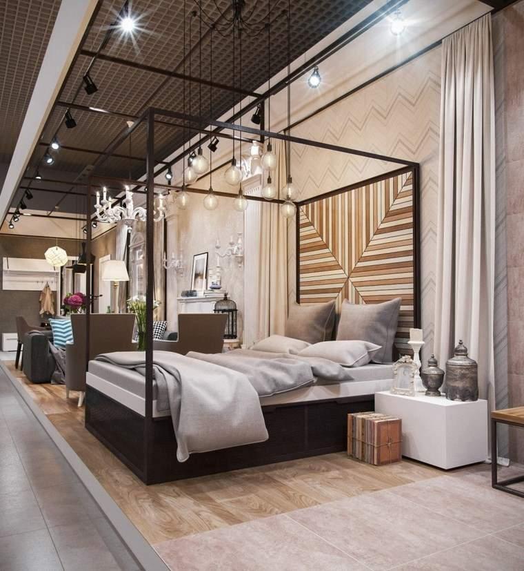 decoracion dormitorios moderno cama madera dosel ideas