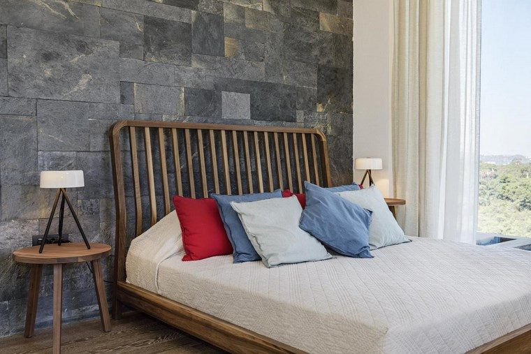 decoracion dormitorios moderno cama madera mesita ideas